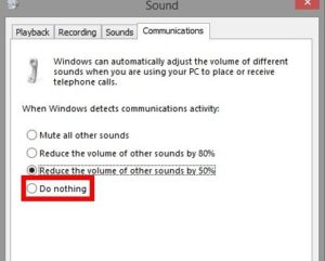 how to turn off skype lowering volume