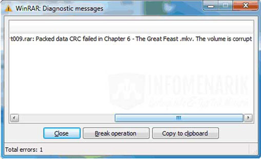 WinRAR diagnostic messages the file is corrupted